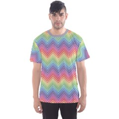 Colorful Rainbow Chevron Pattern Men s Sport Mesh Tee by CoolDesigns