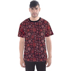 Black Snowflakes Red Pattern Men s Sport Mesh Tee by CoolDesigns