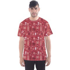 Red African Tribal Pattern Ethnic Ornament With Different Men s Sport Mesh Tee by CoolDesigns