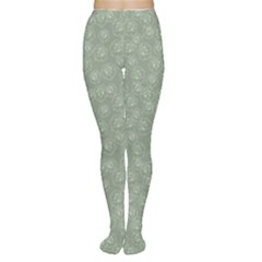 Green Mint Green Retro Floral Pattern With White Roses Women s Tights