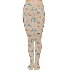 Brown Retro Christmas Pattern With Colorful Deers On A Vintage Women s Tights