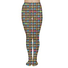 Colorful Pattern With Bright Colored Owl On A Black Women s Tights by CoolDesigns