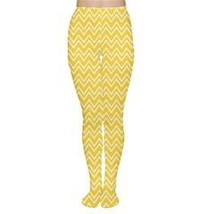 Yellow Yellow And White Chevron Pattern Women s Tights by CoolDesigns