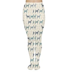 Gray Cute Doodle Pattern Of Dog Silhouettes Endless Women s Tights by CoolDesigns