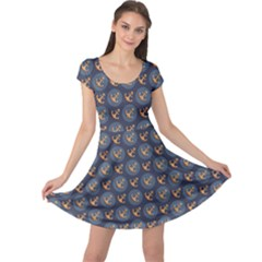 Black Blue Pattern With Sea And River Anchors Cap Sleeve Dress by CoolDesigns