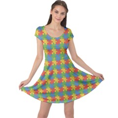 Green Puzzles Color Pattern Cap Sleeve Dress by CoolDesigns