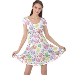Colorful Watercolor Easter Rabbits Patternornamentcolored Cap Sleeve Dress by CoolDesigns