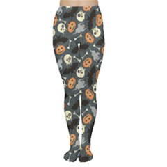 Colorful Halloween Pattern With Pumkins Bats And Skulls Women s Tights by CoolDesigns
