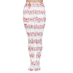 Pink Music Heart Note Sound Love With Shadow Valentine Women s Tights by CoolDesigns