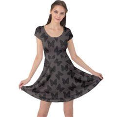 Black Butterfly Web Flat Design Gray Pattern Cap Sleeve Dress by CoolDesigns