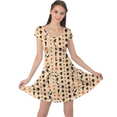 Yellow Halloween Themed Pattern With Cute Skulls Ghosts Cats Cap Sleeve Dress by CoolDesigns