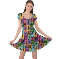 Colorful Colorful Pattern With Silhouettes Of Cocktails And Drinks Cap Sleeve Dress