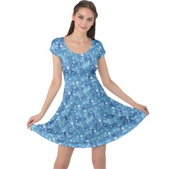 Blue Beautiful Blue Winter Pattern With Snowflakes Cap Sleeve Dress