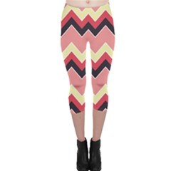 Colorful Chevrons Pattern Retro Vintage Capri Leggings by CoolDesigns