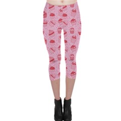 Pink Pattern With Sweet Cupcakes Capri Leggings by CoolDesigns