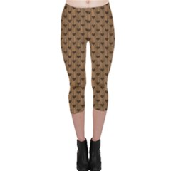 Brown Pattern With Hearts And On A Retro Wooden Boards Capri Leggings by CoolDesigns