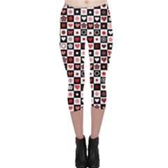 Brown Black And White Checkered Pattern With Red Hearts Seamless Capri Leggings by CoolDesigns