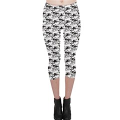 Gray Pattern Of Horse Stallions With A Black Silhouetted Capri Leggings by CoolDesigns