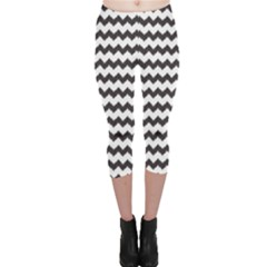 Black Chevron Pattern Capri Leggings by CoolDesigns