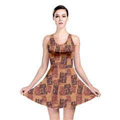 Brown Dark Chocolaty Pattern For Music Lovers Reversible Skater Dress by CoolDesigns