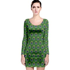 Green Peacock Feathers Long Sleeve Bodycon Dress by CoolDesigns