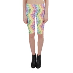 Colorful Pastel Rainbow Petals Cropped Leggings