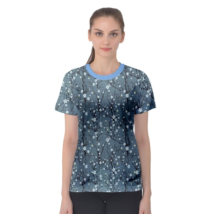 Blue Water with Pattern Tree Japanese Cherry Blossom Women s Sport Mesh Tee