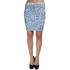 Blue Pattern With Music Notes Bodycon Skirt by CoolDesigns