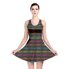 Black Neon Music Pattern Reversible Skater Dress by CoolDesigns