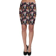 Colorful Beautiful Pattern With Nice Watercolor Skull And Flowers Bodycon Skirt by CoolDesigns