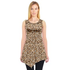 Brown Leopard Pattern Seamless Repeating Animal Sleeveless Tunic Top by CoolDesigns