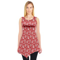 Red Pattern Winter Christmas Sleeveless Tunic Top by CoolDesigns