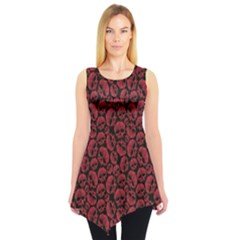 Black Red Skulls Pattern Geometric Contemporary Style Sleeveless Tunic Top by CoolDesigns