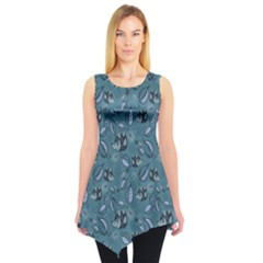 Blue Hedgehogs In The Night Forest Pattern Sleeveless Tunic Top by CoolDesigns