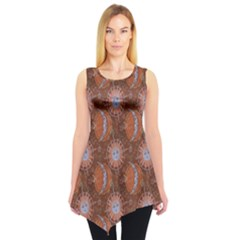 Brown Composition With Sun And Moon Sleeveless Tunic Top by CoolDesigns