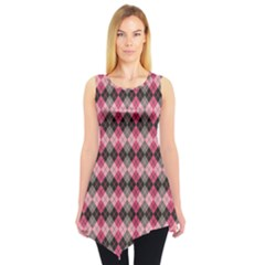 Colorful Argyle Pattern In Pink And Black Sleeveless Tunic Top