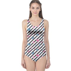 Colorful Abstract Striped Pattern Bows One Piece Swimsuit by CoolDesigns