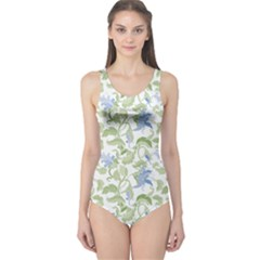Green Flowers Orchids Floral Vintage Style One Piece Swimsuit by CoolDesigns
