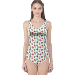 Colorful Pattern A Cute Monsters And Inscriptions One Piece Swimsuit by CoolDesigns
