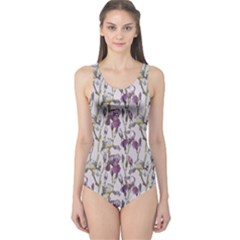 Colorful Pattern Beautiful Iris Flowers One Piece Swimsuit by CoolDesigns