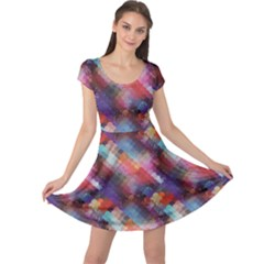 Colorful Pattern Abstract Geometric Pattern Cap Sleeve Dress by CoolDesigns