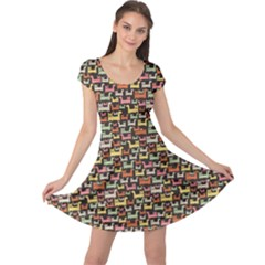 Colorful Pattern Cats Format Cap Sleeve Dress by CoolDesigns
