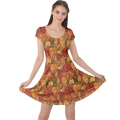Orange Abstract Doodle Autumn Leaves Pattern Cap Sleeve Dress by CoolDesigns