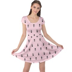 Pink Pattern Ant Art Design For Fabric And Decor Cap Sleeve Dress by CoolDesigns