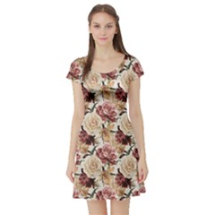 Colorful Floral Pattern Roses Watercolor Short Sleeve Skater Dress by CoolDesigns
