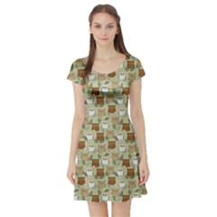 Green Pattern Funny Surprised Owls Short Sleeve Skater Dress by CoolDesigns