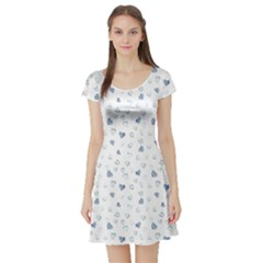 Blue Watercolor Hearts Pattern Short Sleeve Skater Dress