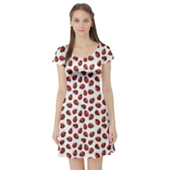 Red Pattern Red Ladybugs Short Sleeve Skater Dress by CoolDesigns
