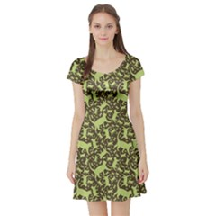 Green Cat Pattern Short Sleeve Skater Dress by CoolDesigns