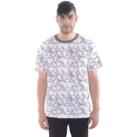 Gray Black And White Pattern Abstract Men s Sport Mesh Tee by CoolDesigns
